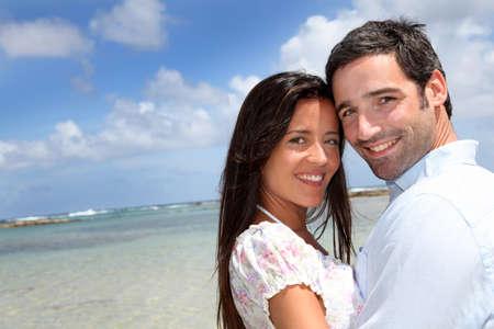 antilles: Closeup of happy couple on honeymoon travel