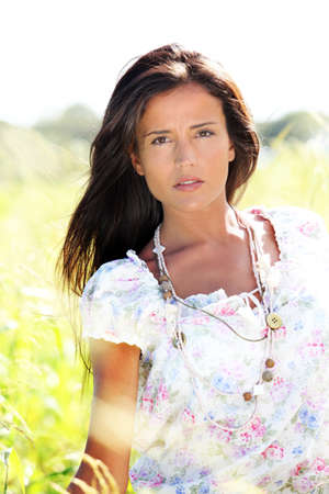 gypsie: Beautiful woman in country field