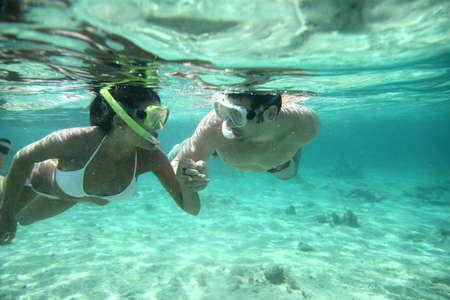 Couple snorkeling in Caribbean waters Stock Photo - 13123850