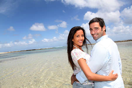 Closeup of happy couple on honeymoon travel photo
