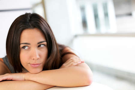 Portrait of brunette with bored look Stock Photo - 13258245