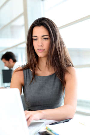 Attractive businesswoman working on laptop computer Stock Photo - 13258308