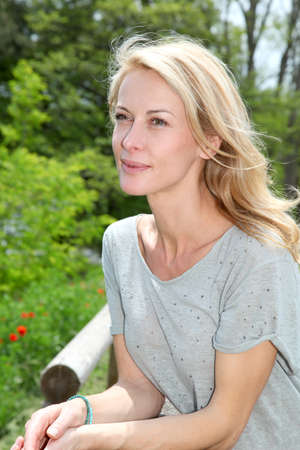 Portrait of beautiful blond woman photo