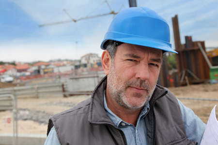 Portrait of entrepreneur on building site Stock Photo - 14023058