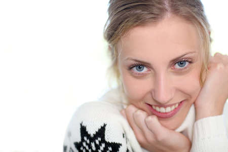 woman sweater: Portrait of beautiful blond girl on white background