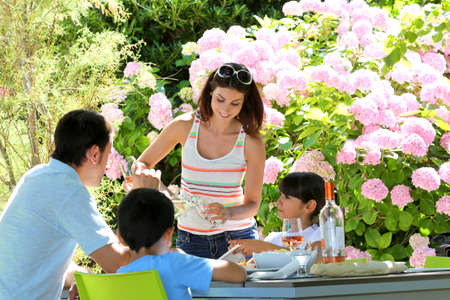 Woman serving water to family having lunch Stock Photo - 14663685