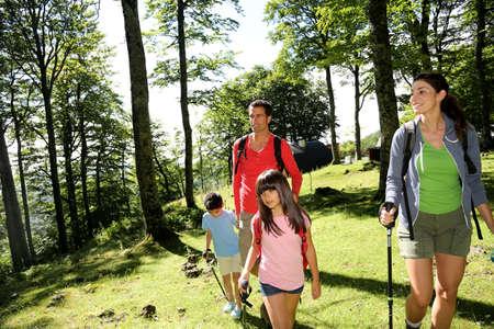 family day: Family having fun on a trekking day