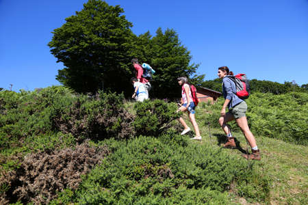 rambling: Family in a hikking day climbing up the hill Stock Photo
