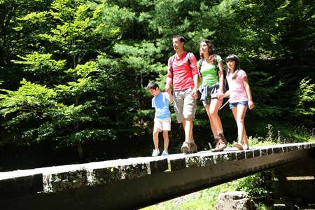 두서없는: 산 숲에서 다리에 가족 산책 스톡 사진