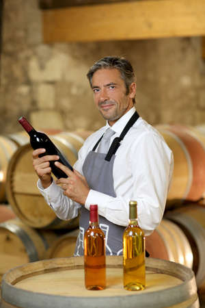 Wine waiter standing in wine cellar photo
