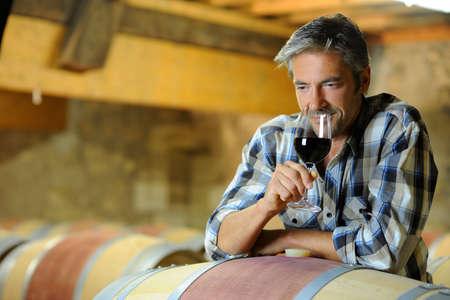 wine stocks: Winemaker tasting red wine in winery