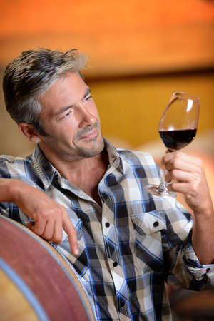 Winemaker looking at red wine in glass Stock Photo - 15083361