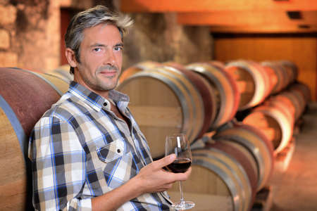 Smiling winemaker standing in wine cellar with glass Stock Photo - 15083365