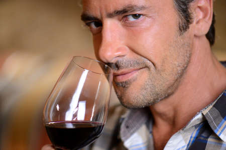Closeup on winemaker smelling red wine in glass Stock Photo - 15083366