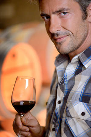 Closeup on winemaker smelling red wine in glass photo