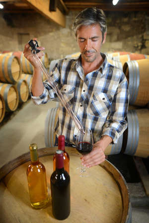 Winemaker getting sample of red wine from barrel photo