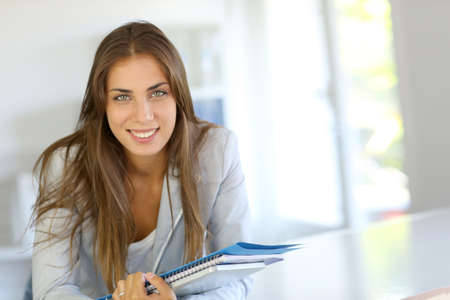 Portrait of beautiful university girl  photo