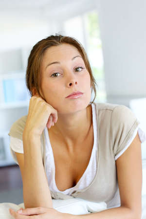 Closeup of young woman with upset look Stock Photo - 15278258