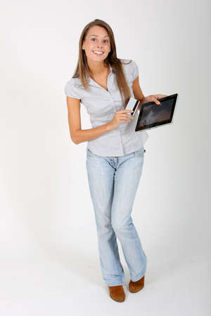 Online shopping with digital tablet photo
