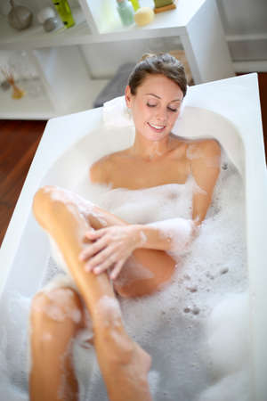 bathtub: Upper view of woman in bathtub
