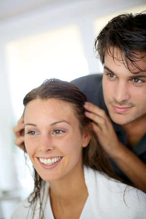 hair conditioner: Portrait of woman at the hairdresser