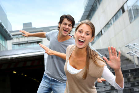 handsome student: Young people having fun in college campus Stock Photo