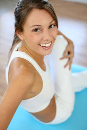 Beautiful woman exercising in gym Stock Photo - 15638032
