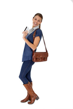girl boots: Shopping girl holding credit card, isolated