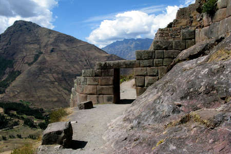 pisac: Inca ruins of Pisac, Peru Stock Photo