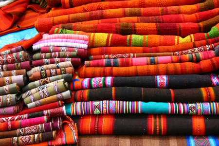 pisac: Traditional peruvian fabrics, Pisac Stock Photo