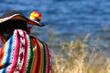 quechua: Traditional clothing, Titicaca Lake Stock Photo