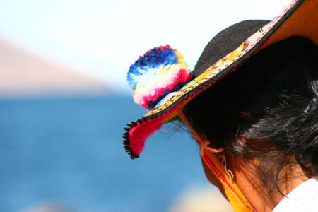 quechua: Traditional hat, Titicaca Lake Stock Photo