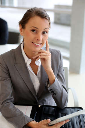 Businesswoman using electronic tablet Stock Photo - 15811192