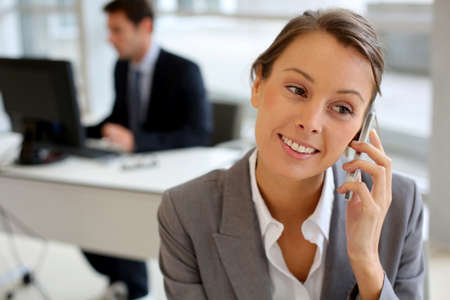 Portrait of businesswoman talking on mobile phone Stock Photo - 15811157