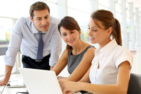 business: Business presentation on laptop computer Stock Photo