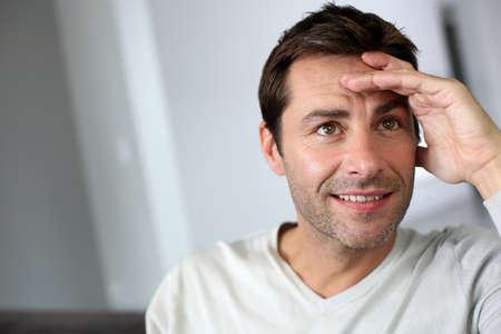 40 years old man: Portrait of man looking upwards