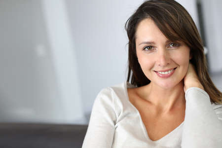 Portrait of attractive brunette woman looking at camera Stock Photo - 15831907