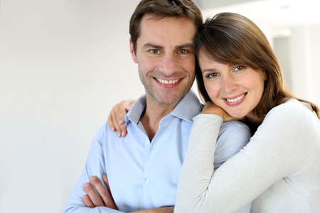 husbands: Portrait of married couple at home Stock Photo