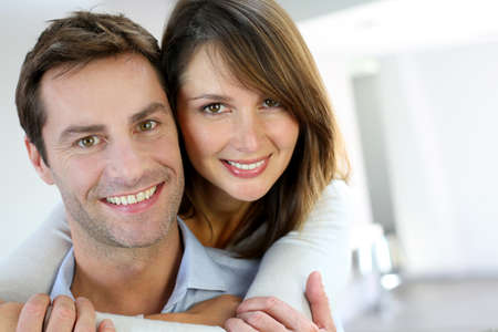 couple home: Portrait of married couple at home Stock Photo