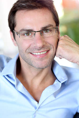 40 years old man: Portrait of middle-aged man with eyeglasses