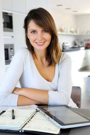 teleworker: Beautiful teleworker working from home Stock Photo