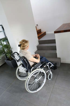 Portrait of senior woman in wheelchair photo