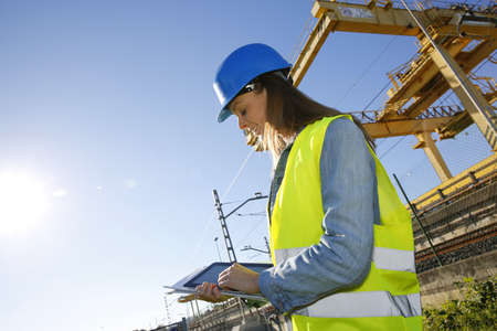pda: Site manager using electronic tablet Stock Photo