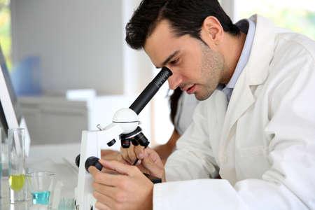 microscope: Doctor en biología trabajando en microscopio