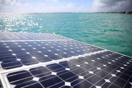 Closeup of solar panels set in a sailboat photo