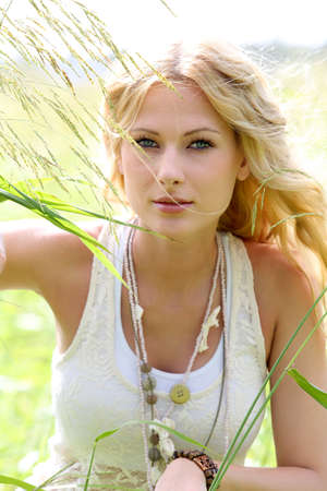 blonde  blue eyes: Gorgeous woman in natural environment