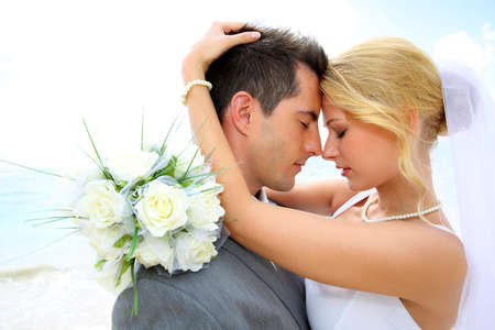 happy moment: Just married couple sharing romantic moment  Stock Photo