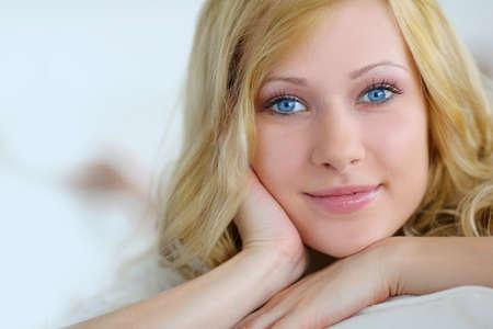 Portait of beautiful blond smiling woman Stock Photo - 17184142