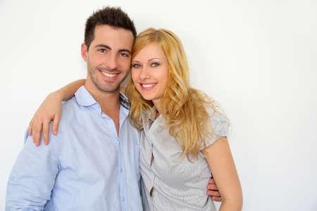 Sweet couple embracing on white background Stock Photo - 17183839