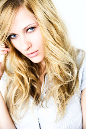 Portrait of blond woman with long hair Stock Photo - 17191059